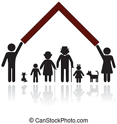 protection, gens, silhouette, famille