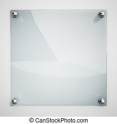 Protection glass plate fastened to white wall with metal ...