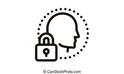 protection, icône, immunity, humain, animation