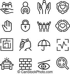Protection icon set in thin line style