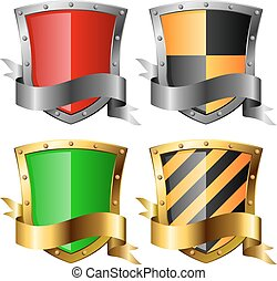 Protection icons. Four shields with banners isolated on white. Eps10 file.