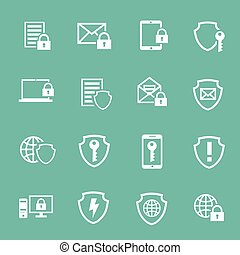 Protection Information technology security pictograms collection of computer and mobile safety isolated