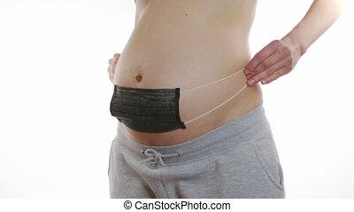 protection, monde médical, noir, elle, applique, stomach., maladie, closeup, concept., pregnant, masque, girl, 6k.