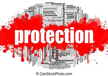 protection, mot, nuage