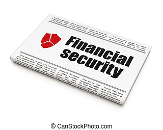 Protection news concept: newspaper headline Financial Security and Broken Shield icon on White background, 3d render