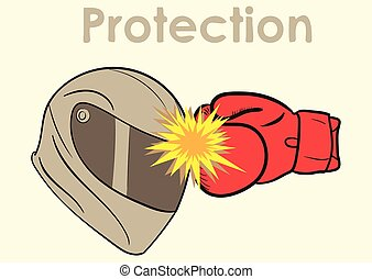 Protection of a helmet - Conceptual illustration with a...