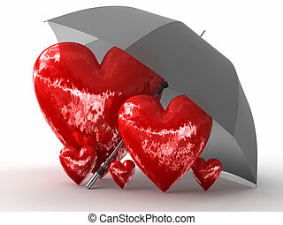 Protection of Family - 3d image of Hearts. White background.