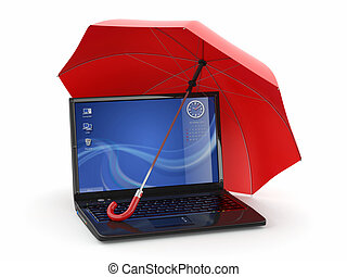 Protection of information. Laptop and umbrella