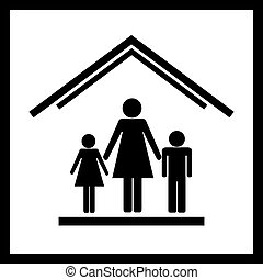 Protection of mothers with children in house. Vector illustration