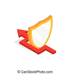 Protection shield and red arrow icon