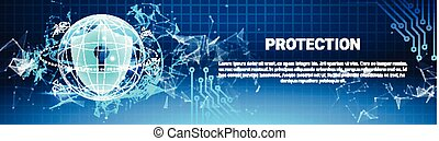 Protection Shield Blue Polygons Over Binary Code Background Business Concept Of Data Security Horizontal Banner
