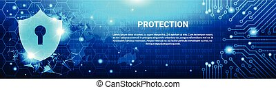 Protection Shield Blue Polygons Over Circuit Background Business Concept Of Data Security Horizontal Banner