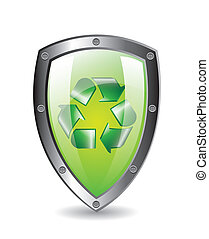 green protection shield with recycle sign with shadow. vector