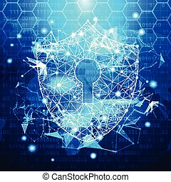 Protection Shield Over Blue Polygonal Background Business Concept Of Data Security