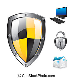 protection shield - protection shield with icons over white...