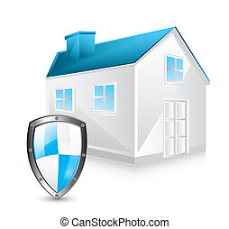 protection shield with house over white background. vector illustration