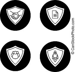 Protection shields glyph icons set