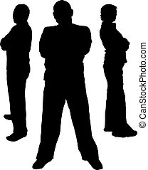 Protection - Silhouettes of 3 bodyguards