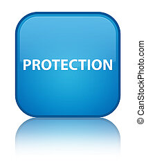 Protection special cyan blue square button