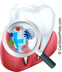 Protection Tooth Shield - A medical dental illustration of a...