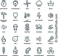 protection uv, icônes, dirtproof, influence, eau, résistance, vecteur, externe, shockproof, impact, ligne, rayons, mince