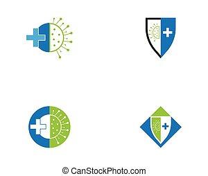 protection, virus, logo, couronne, vecteur
