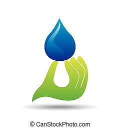 protection water hand hold drop icon
