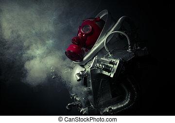 protection.environmental, disaster., poste, apocalíptico, sobrevivente, em, máscara gás