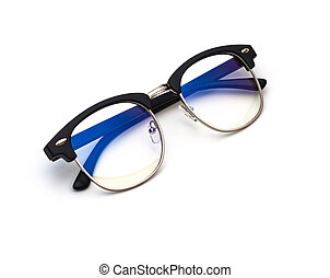 protective glasses with blue filter coating on a white background