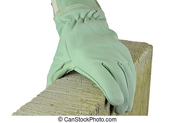 protective glove - bricklayer wearing protective safety...