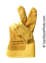 Protective glove showing victory sign, isolated.