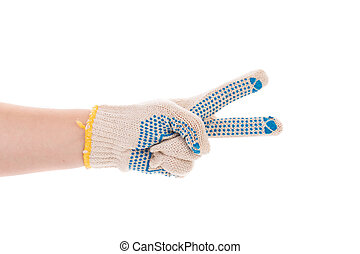 Protective glove with blue circles. Isolated on a white...