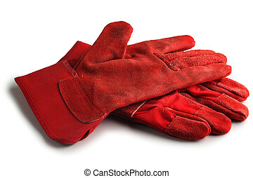 Protective gloves against a white background.