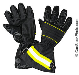 Protective gloves for firefighters. Inside and outside of...