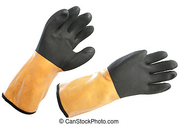 protective gloves for the production of works on a white...