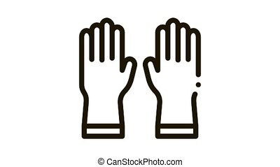 Protective Gloves Icon Animation. black Protective Gloves animated icon on white background