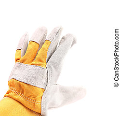 Protective gloves, isolated on a white. Outside.
