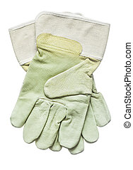 Protective gloves isolated on white top view
