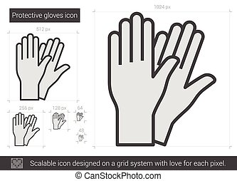 Protective gloves line icon. - Protective gloves vector line...