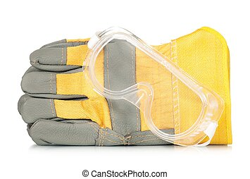 Protective gloves with glasses isolated on a white...