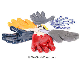 Protective gloves. Isolated on a white background.