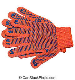 protective gloves - two orange protective gloves isolated on...