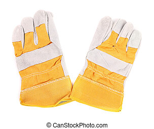Protective gloves. Isolated. Yellow. Close up. White...