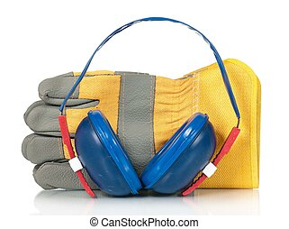 Protective gloves with earphones isolated on a white...