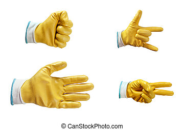 protective gloves, yellow gloves, rubber gloves, hand signs