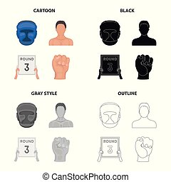 Protective helmet, boxer s appearance, 3-round tablet, fist. Boxing set collection icons in cartoon black monochrome outline style vector symbol stock illustration web.