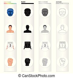 Protective helmet, boxer's appearance, 3-round tablet, fist. Boxing set collection icons in cartoon black monochrome outline style vector symbol stock illustration web.