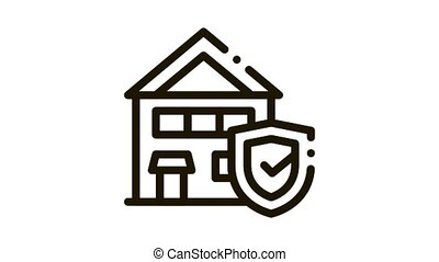 Protective House from Rat Icon Animation. black Protective House from Rat animated icon on white background