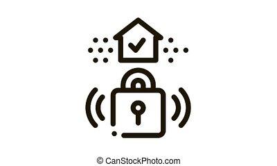 protective lock Icon Animation. black protective lock animated icon on white background