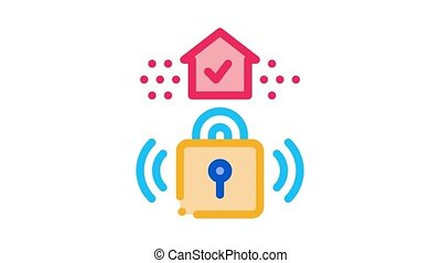 protective lock Icon Animation. color protective lock animated icon on white background